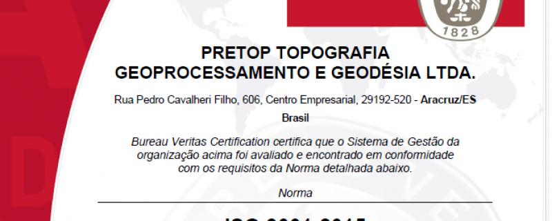 A Pretop passou pelo processo de certificação na Norma ISO 9001